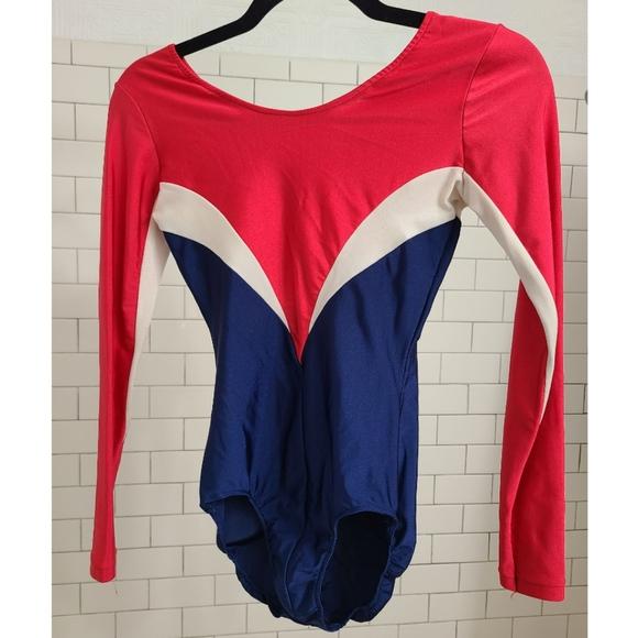Vintage Gymnastics Bodysuit Leatard Team USA Red, White, and Blue